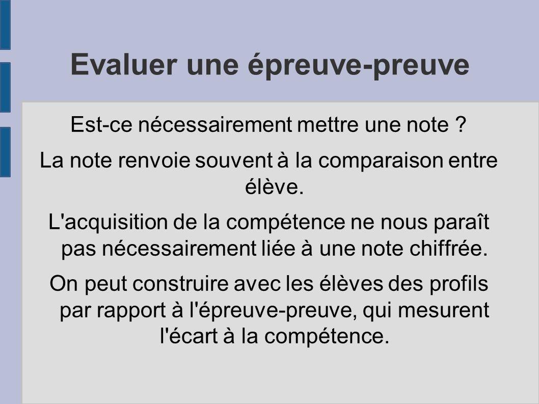 Evaluer une épreuve-preuve Est-ce nécessairement mettre une note .