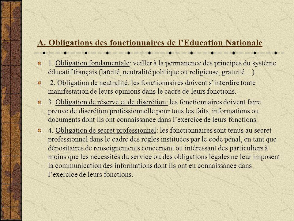 Obligations et droits des fonctionnaires de l Education Nationale Les fonctionnaires ont des obligations en contrepartie desquelles ils bénéficient de