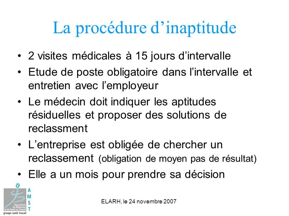 ELARH, le 24 novembre 2007 La procédure dinaptitude 2 visites médicales à 15 jours dintervalle Etude de poste obligatoire dans lintervalle et entretie