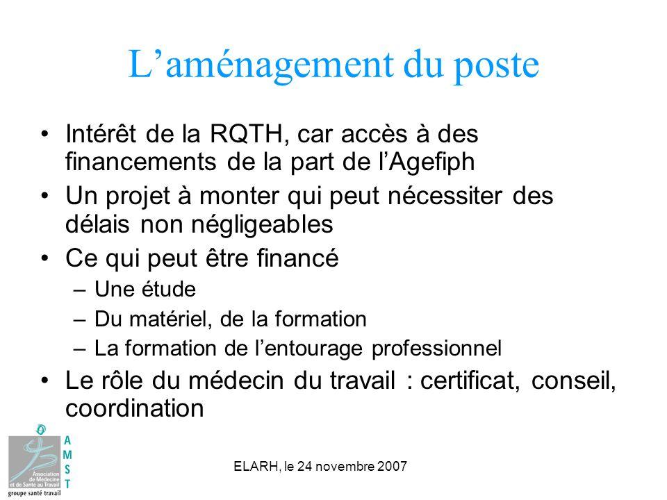 ELARH, le 24 novembre 2007 Laménagement du poste Intérêt de la RQTH, car accès à des financements de la part de lAgefiph Un projet à monter qui peut n