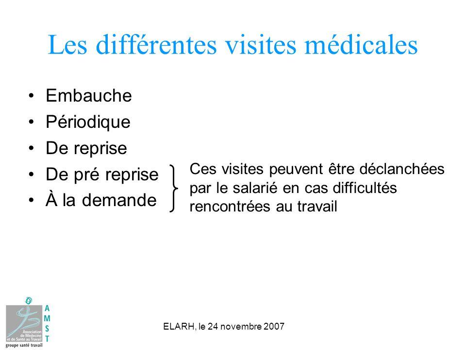 ELARH, le 24 novembre 2007 Les différentes visites médicales Embauche Périodique De reprise De pré reprise À la demande Ces visites peuvent être décla
