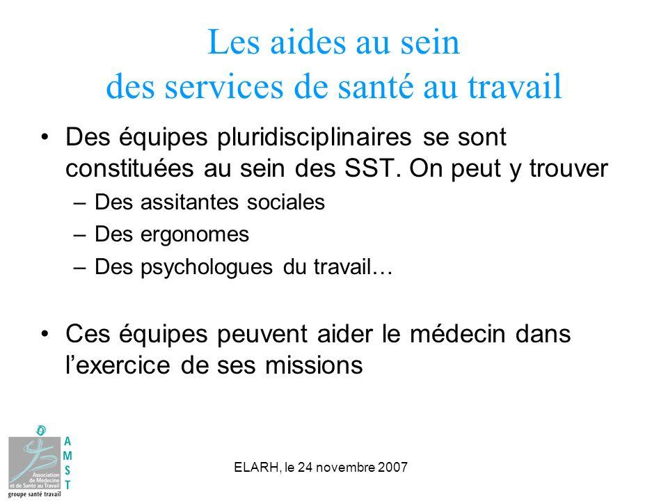 ELARH, le 24 novembre 2007 Les aides au sein des services de santé au travail Des équipes pluridisciplinaires se sont constituées au sein des SST. On