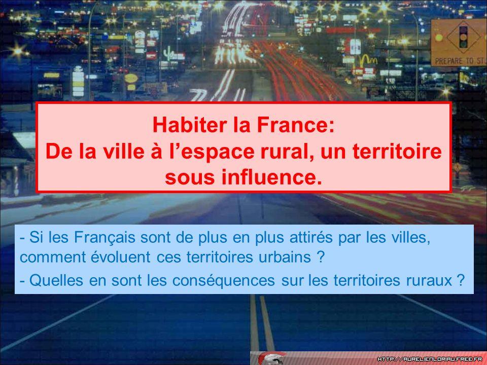 Habiter la France: De la ville à lespace rural, un territoire sous influence. - Si les Français sont de plus en plus attirés par les villes, comment é