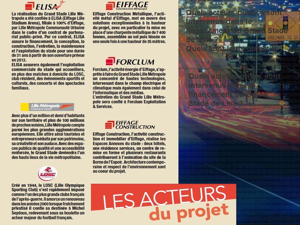 Quels acteurs publics sont intervenus dans le financement du Grand Stade de Lille ? Quels sont leurs objectifs ? Quels acteurs privés sont intervenus