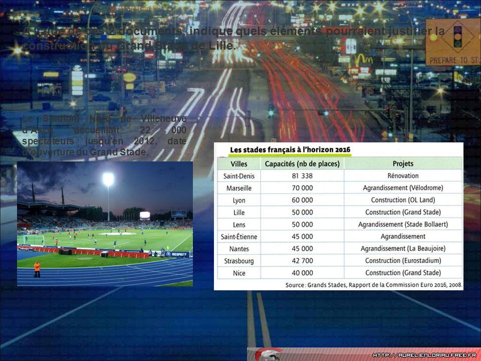 Le Stadium Nord de Villeneuve dAscq accueillait 22 000 spectateurs jusquen 2012, date douverture du Grand Stade. A laide de ces 2 documents, indique q
