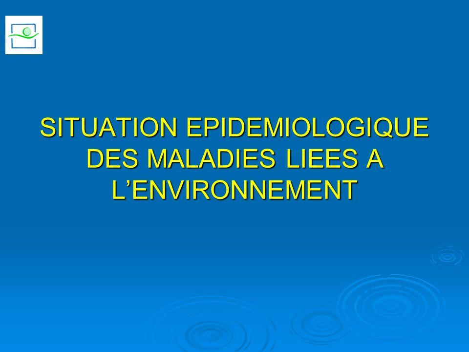 SITUATION EPIDEMIOLOGIQUE DES MALADIES LIEES A LENVIRONNEMENT