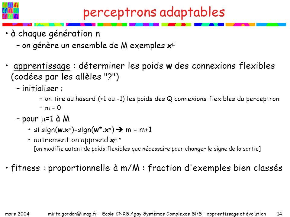 mars 2004mirta.gordon@imag.fr - Ecole CNRS Agay Systèmes Complexes SHS - apprentissage et évolution14 perceptrons adaptables à chaque génération n –on