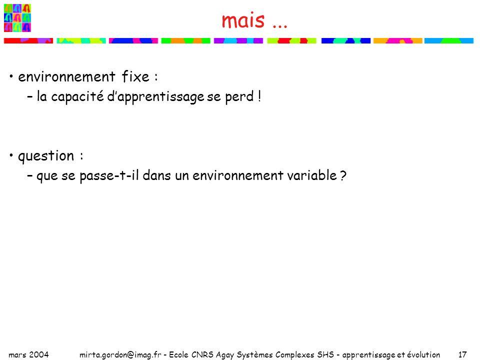 mars 2004mirta.gordon@imag.fr - Ecole CNRS Agay Systèmes Complexes SHS - apprentissage et évolution17 mais... environnement fixe : –la capacité dappre