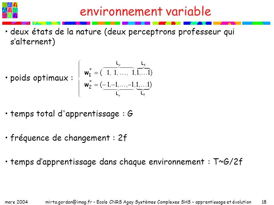 mars 2004mirta.gordon@imag.fr - Ecole CNRS Agay Systèmes Complexes SHS - apprentissage et évolution18 environnement variable deux états de la nature (