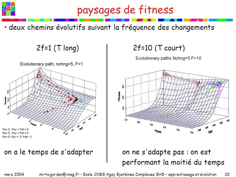 mars 2004mirta.gordon@imag.fr - Ecole CNRS Agay Systèmes Complexes SHS - apprentissage et évolution20 paysages de fitness deux chemins évolutifs suiva