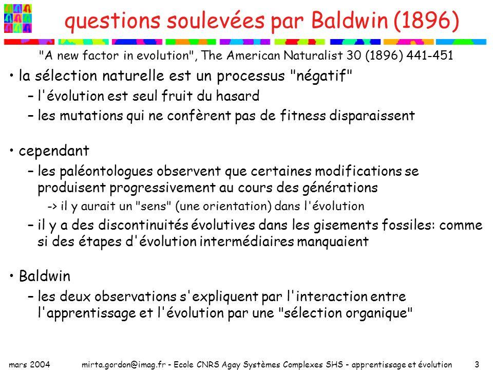 mars 2004mirta.gordon@imag.fr - Ecole CNRS Agay Systèmes Complexes SHS - apprentissage et évolution14 perceptrons adaptables à chaque génération n –on génère un ensemble de M exemples x apprentissage : déterminer les poids w des connexions flexibles (codées par les allèles ? ) –initialiser : –on tire au hasard (+1 ou -1) les poids des Q connexions flexibles du perceptron –m = 0 –pour =1 à M si sign(w.x )=sign(w*.x ) m = m+1 autrement on apprend x [on modifie autant de poids flexibles que nécessaire pour changer le signe de la sortie] fitness : proportionnelle à m/M : fraction d exemples bien classés
