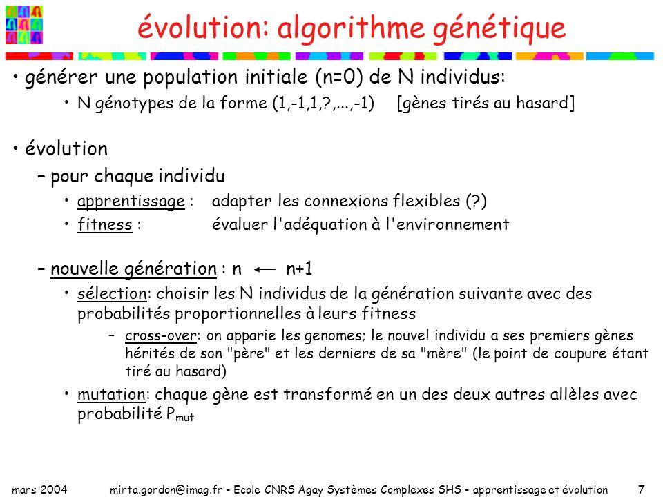 mars 2004mirta.gordon@imag.fr - Ecole CNRS Agay Systèmes Complexes SHS - apprentissage et évolution18 environnement variable deux états de la nature (deux perceptrons professeur qui salternent) poids optimaux : temps total d apprentissage : G fréquence de changement : 2f temps dapprentissage dans chaque environnement : T~G/2f