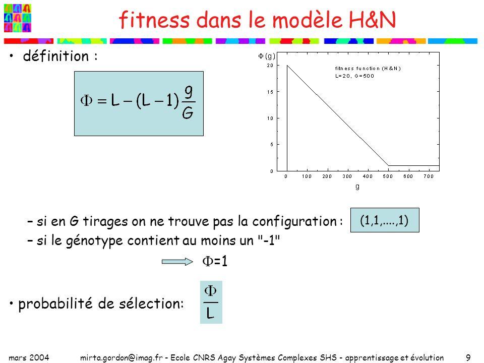 mars 2004mirta.gordon@imag.fr - Ecole CNRS Agay Systèmes Complexes SHS - apprentissage et évolution20 paysages de fitness deux chemins évolutifs suivant la fréquence des changements 2f=1 (T long) 2f=10 (T court) on a le temps de s adapteron ne s adapte pas : on est performant la moitié du temps