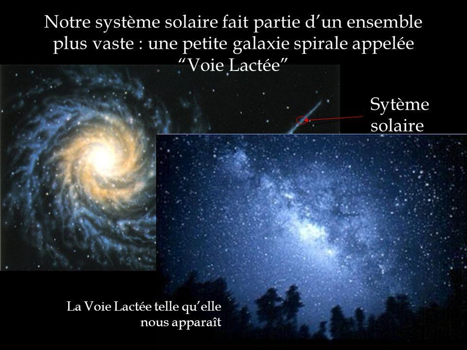 Notre système solaire fait partie dun ensemble plus vaste : une petite galaxie spirale appelée Voie Lactée Sytème solaire La Voie Lactée telle quelle