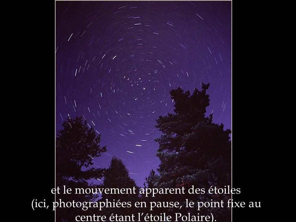 et le mouvement apparent des étoiles (ici, photographiées en pause, le point fixe au centre étant létoile Polaire).