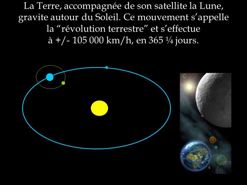 La Terre, accompagnée de son satellite la Lune, gravite autour du Soleil. Ce mouvement sappelle la révolution terrestre et seffectue à +/- 105 000 km/