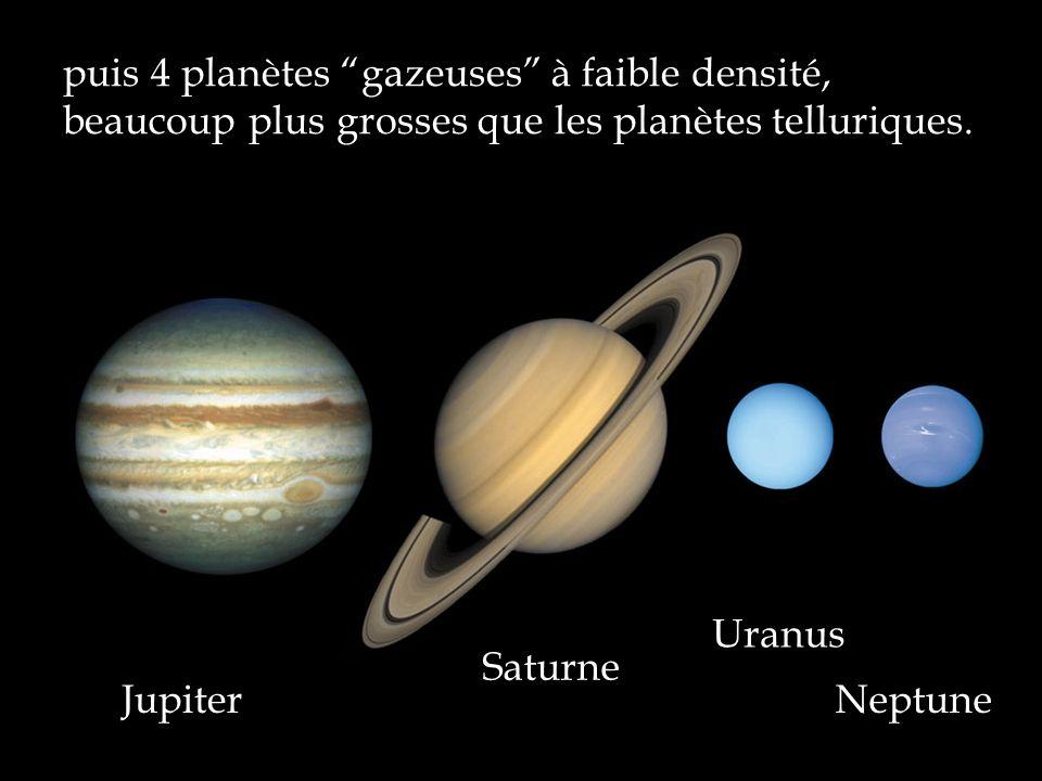 puis 4 planètes gazeuses à faible densité, beaucoup plus grosses que les planètes telluriques. Jupiter Saturne Uranus Neptune