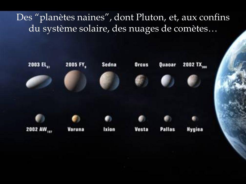 Des planètes naines, dont Pluton, et, aux confins du système solaire, des nuages de comètes…