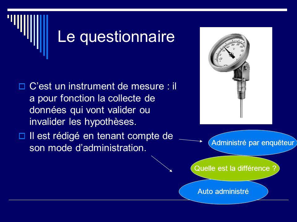 Le questionnaire Cest un instrument de mesure : il a pour fonction la collecte de données qui vont valider ou invalider les hypothèses.
