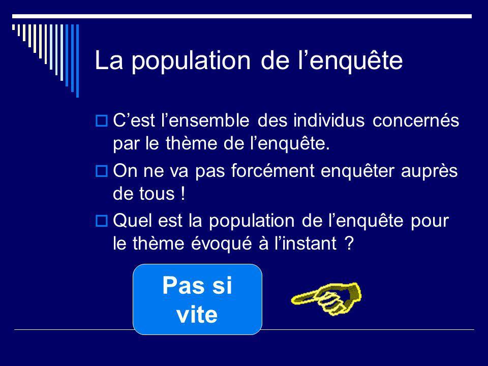La population de lenquête Cest lensemble des individus concernés par le thème de lenquête.