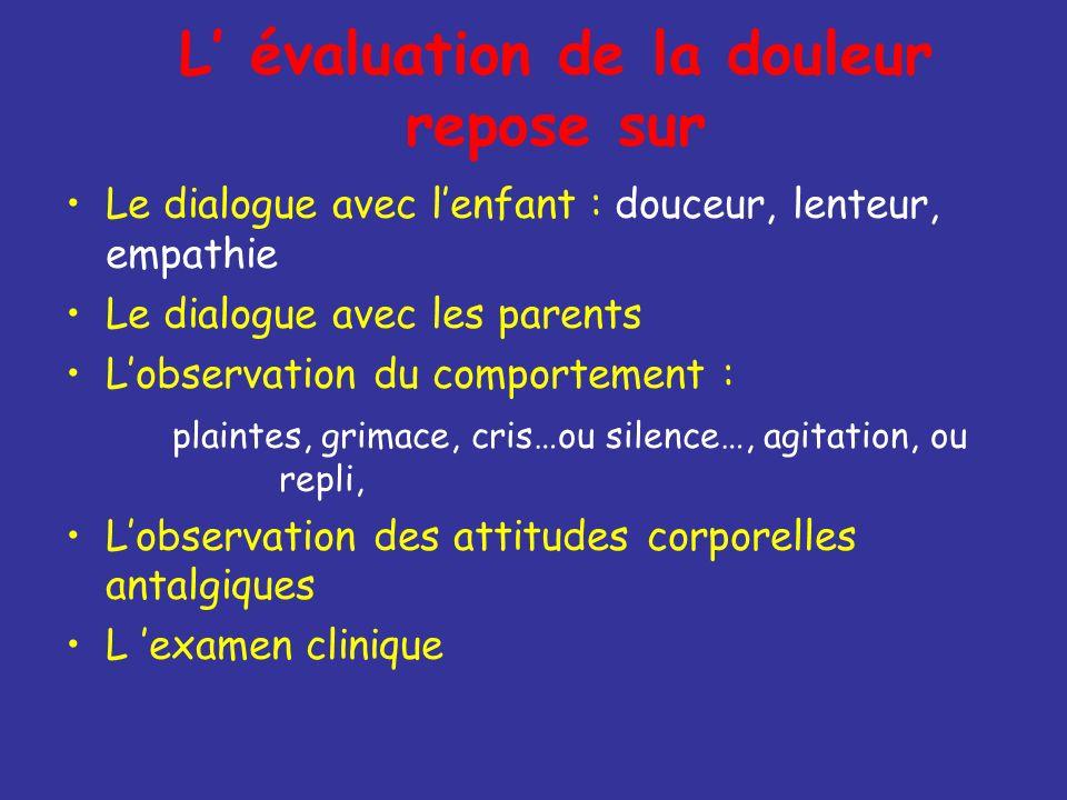 L évaluation de la douleur repose sur Le dialogue avec lenfant : douceur, lenteur, empathie Le dialogue avec les parents Lobservation du comportement
