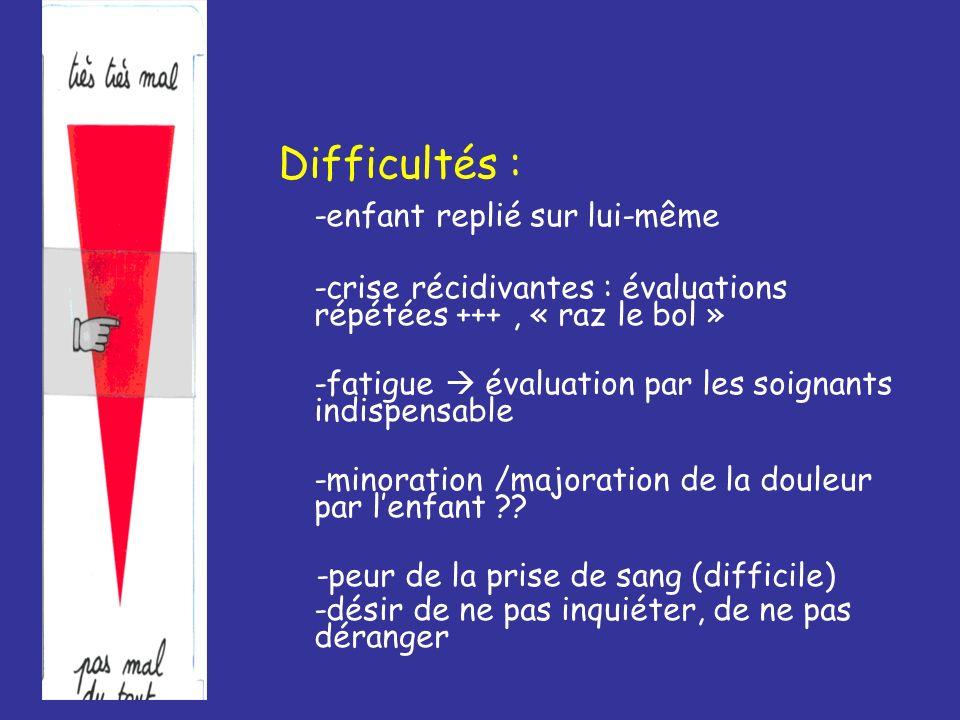 Difficultés : -enfant replié sur lui-même -crise récidivantes : évaluations répétées +++, « raz le bol » -fatigue évaluation par les soignants indispe