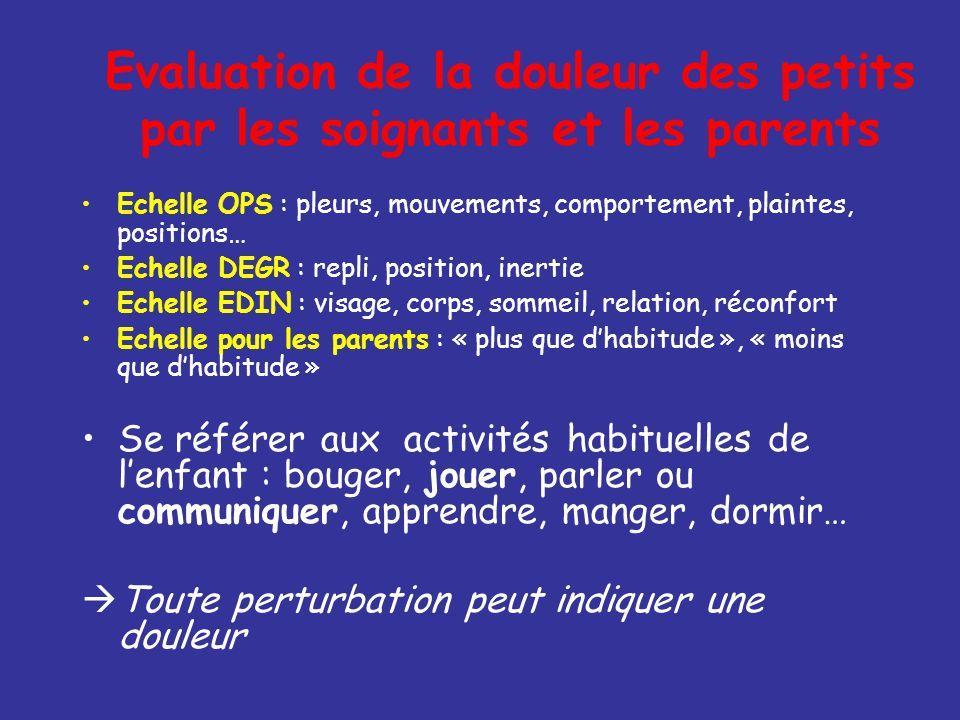 Evaluation de la douleur des petits par les soignants et les parents Echelle OPS : pleurs, mouvements, comportement, plaintes, positions… Echelle DEGR