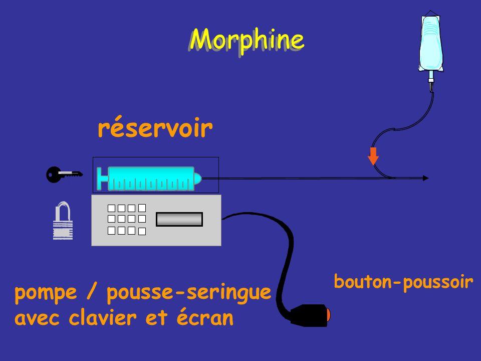 réservoir bouton-poussoir pompe / pousse-seringue avec clavier et écran Morphine