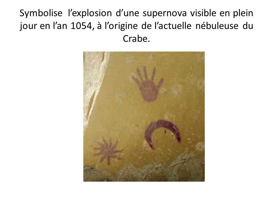 Symbolise lexplosion dune supernova visible en plein jour en lan 1054, à lorigine de lactuelle nébuleuse du Crabe.