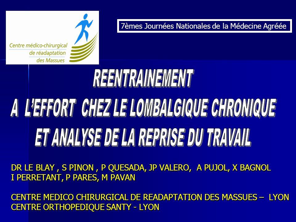 DR LE BLAY, S PINON, P QUESADA, JP VALERO, A PUJOL, X BAGNOL I PERRETANT, P PARES, M PAVAN CENTRE MEDICO CHIRURGICAL DE READAPTATION DES MASSUES – LYO