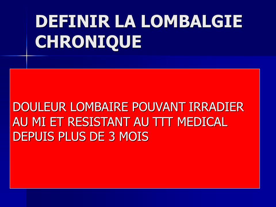 DEFINIR LA LOMBALGIE CHRONIQUE DOULEUR LOMBAIRE POUVANT IRRADIER AU MI ET RESISTANT AU TTT MEDICAL DEPUIS PLUS DE 3 MOIS