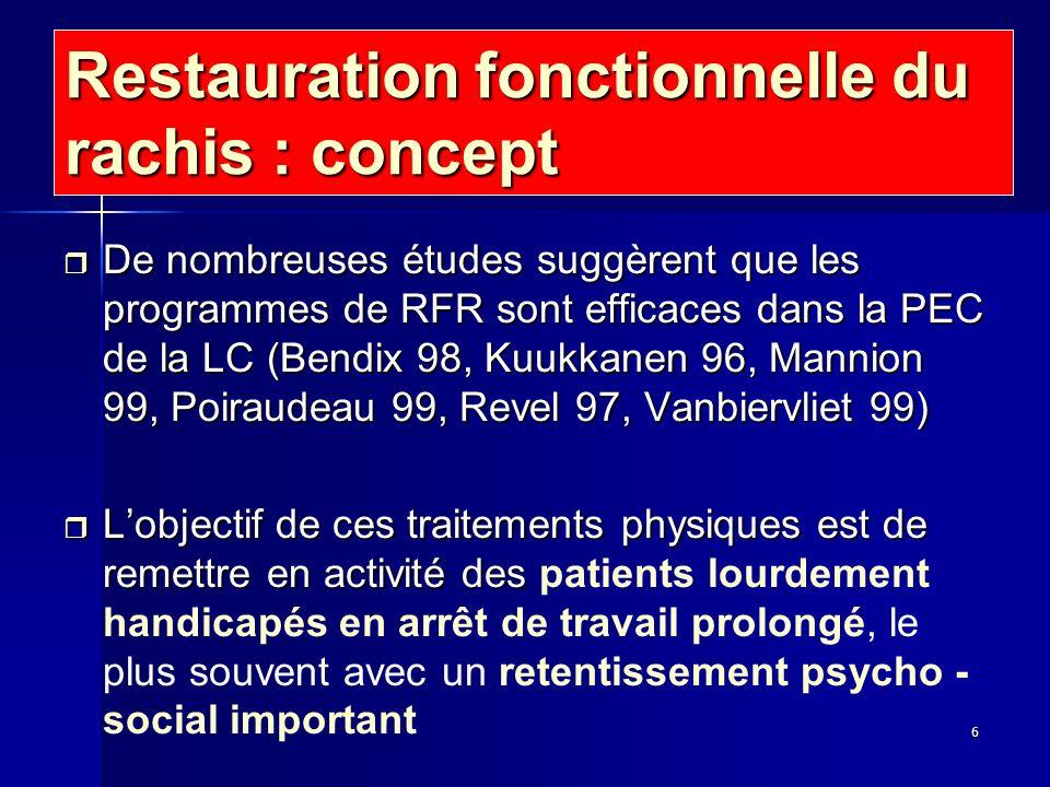 6 Restauration fonctionnelle du rachis : concept r De nombreuses études suggèrent que les programmes de RFR sont efficaces dans la PEC de la LC (Bendi