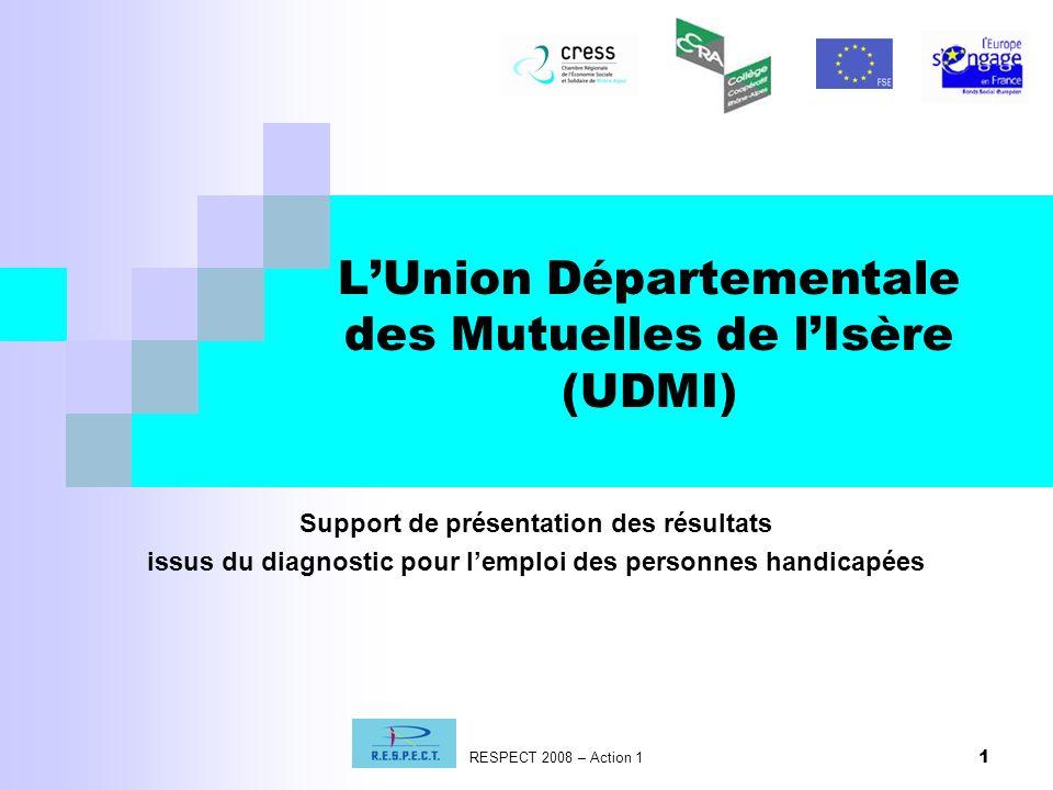 1 LUnion Départementale des Mutuelles de lIsère (UDMI) RESPECT 2008 – Action 1 Support de présentation des résultats issus du diagnostic pour lemploi des personnes handicapées