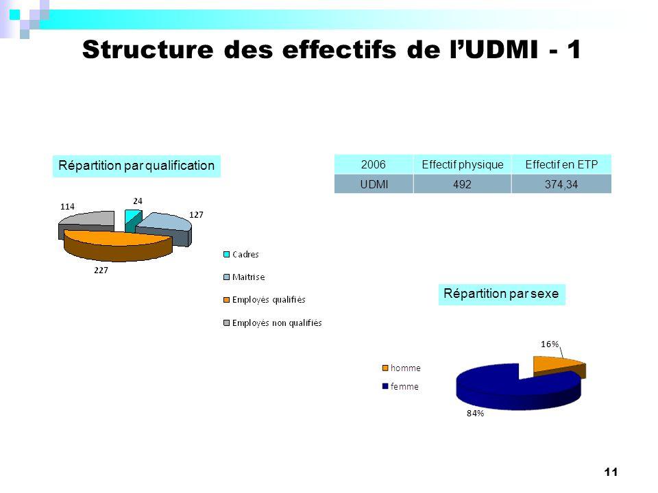 11 Structure des effectifs de lUDMI - 1 Répartition par qualification Répartition par sexe 2006Effectif physiqueEffectif en ETP UDMI492374,34