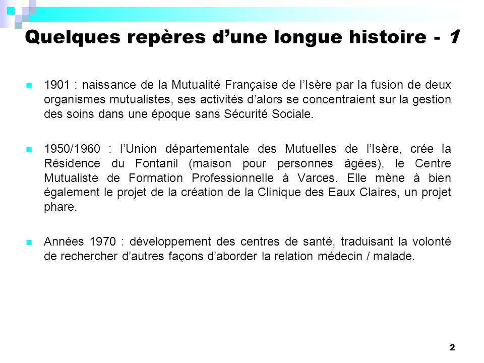 2 1901 : naissance de la Mutualité Française de lIsère par la fusion de deux organismes mutualistes, ses activités dalors se concentraient sur la gestion des soins dans une époque sans Sécurité Sociale.
