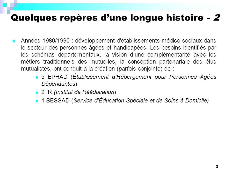 3 Années 1980/1990 : développement détablissements médico-sociaux dans le secteur des personnes âgées et handicapées.