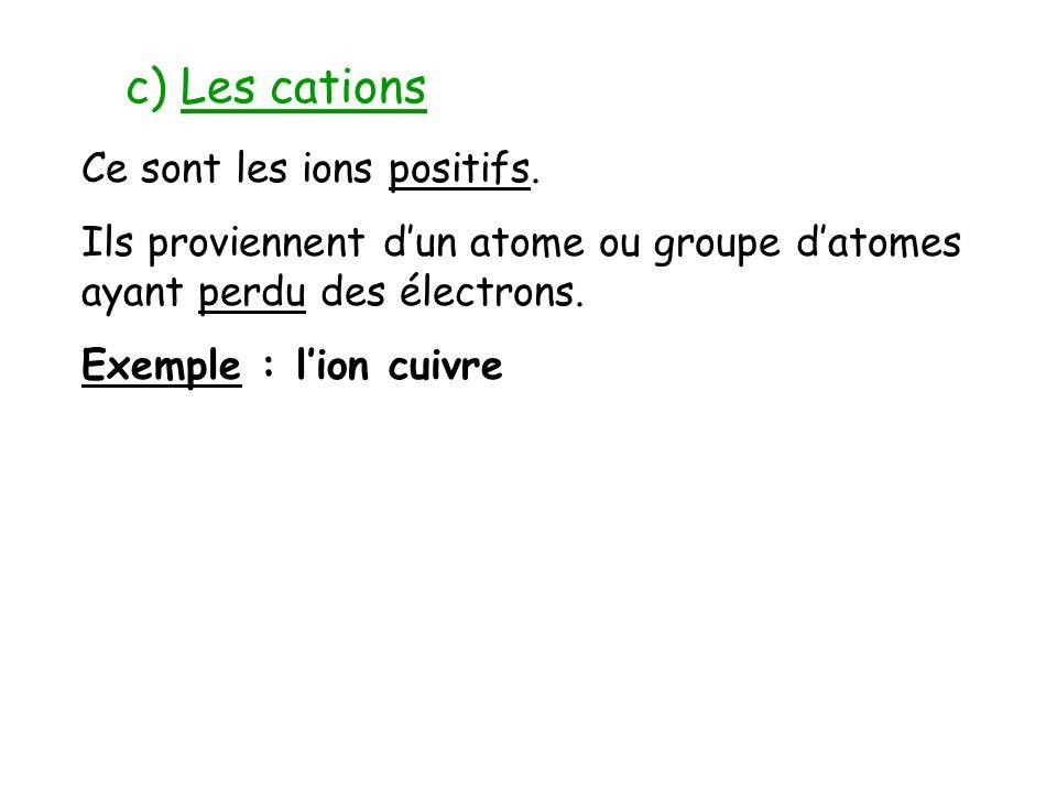 c) Les cations Ce sont les ions positifs. Ils proviennent dun atome ou groupe datomes ayant perdu des électrons. Exemple : lion cuivre
