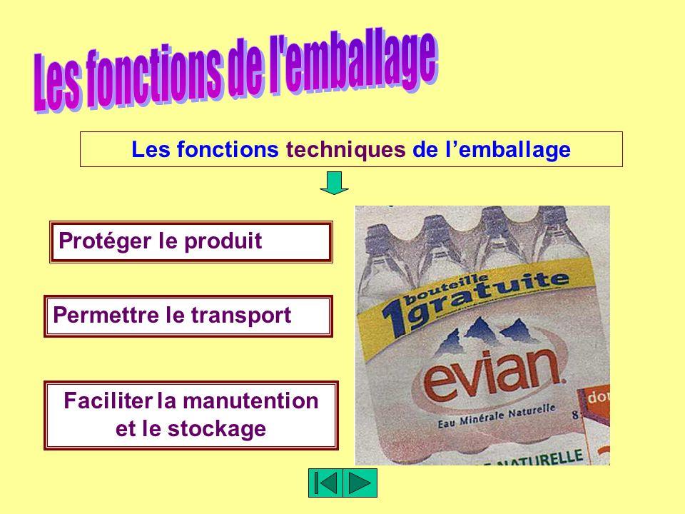 Les fonctions techniques de lemballage Protéger le produit Permettre le transport Faciliter la manutention et le stockage