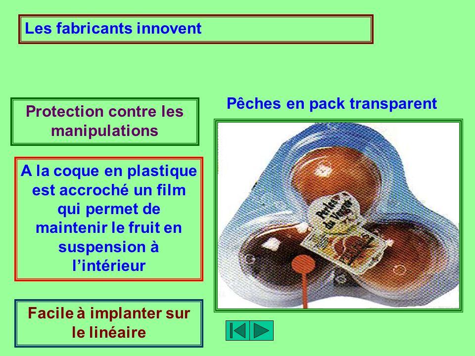 Les fabricants innovent Pêches en pack transparent Protection contre les manipulations A la coque en plastique est accroché un film qui permet de main