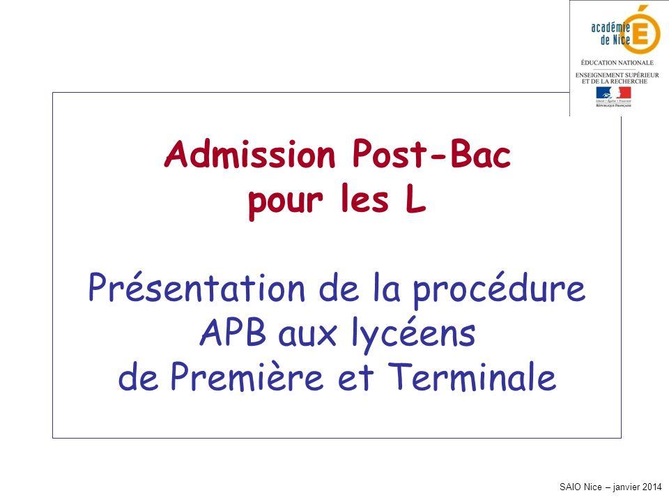 SAIO Nice – janvier 2014 Admission Post-Bac pour les L Présentation de la procédure APB aux lycéens de Première et Terminale