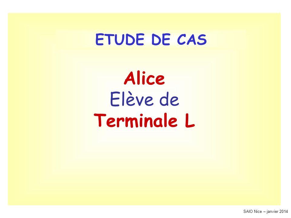 SAIO Nice – janvier 2014 Alice Elève de Terminale L ETUDE DE CAS