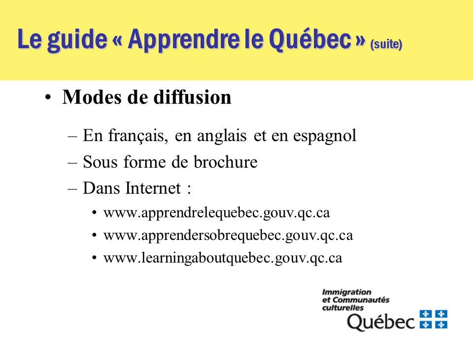 Le guide « Apprendre le Québec » (suite) Modes de diffusion –En français, en anglais et en espagnol –Sous forme de brochure –Dans Internet : www.apprendrelequebec.gouv.qc.ca www.apprendersobrequebec.gouv.qc.ca www.learningaboutquebec.gouv.qc.ca