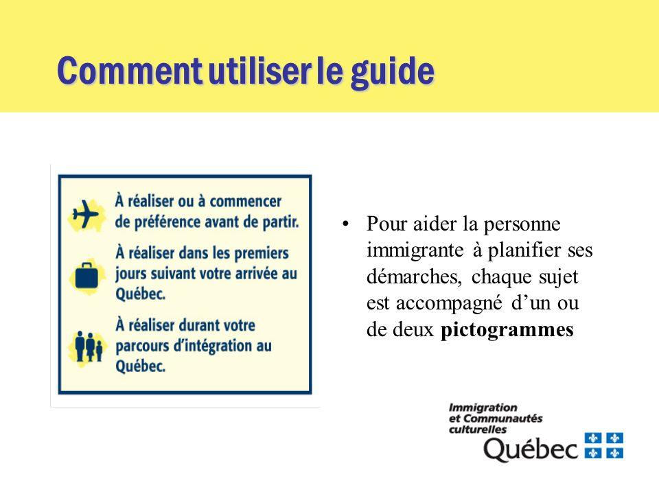 Comment utiliser le guide Pour aider la personne immigrante à planifier ses démarches, chaque sujet est accompagné dun ou de deux pictogrammes
