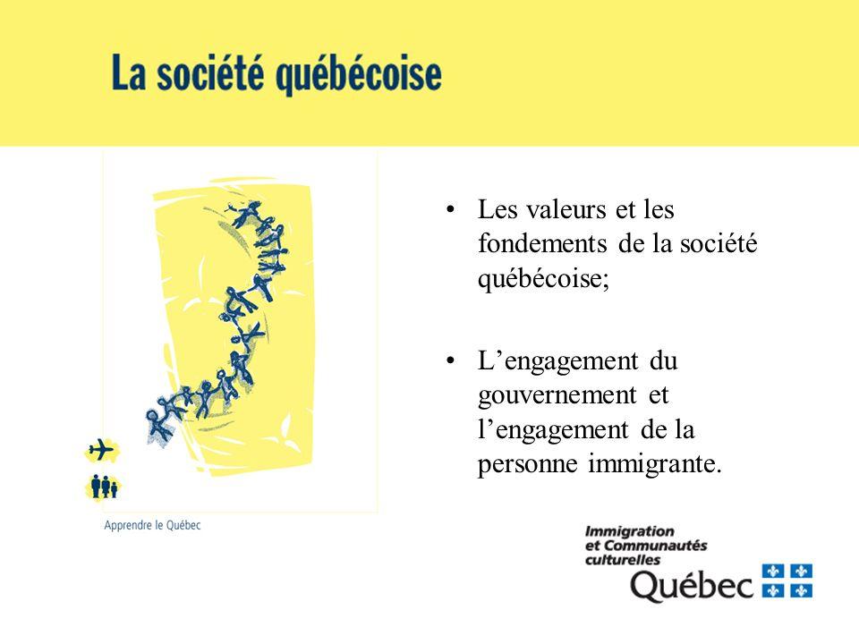 Les valeurs et les fondements de la société québécoise; Lengagement du gouvernement et lengagement de la personne immigrante.