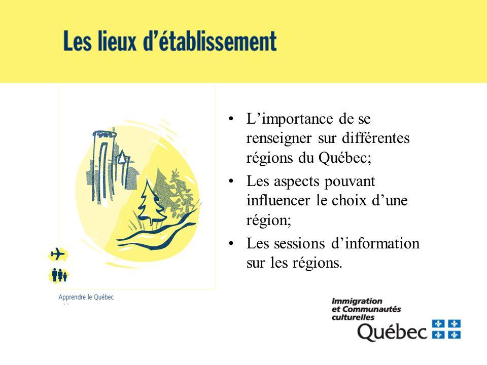 Limportance de se renseigner sur différentes régions du Québec; Les aspects pouvant influencer le choix dune région; Les sessions dinformation sur les régions.