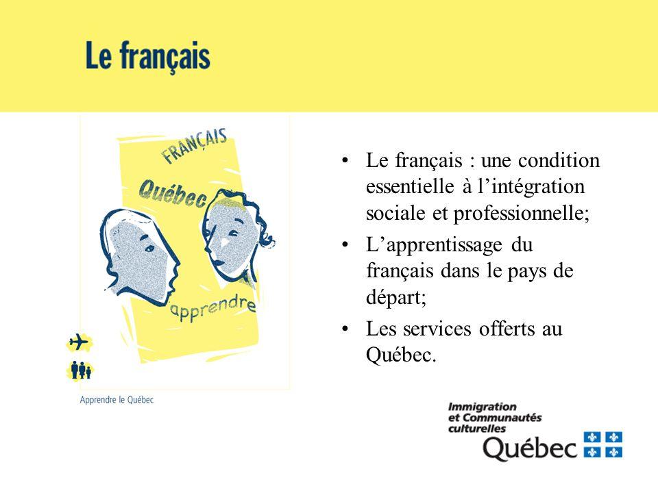 Le français : une condition essentielle à lintégration sociale et professionnelle; Lapprentissage du français dans le pays de départ; Les services offerts au Québec.