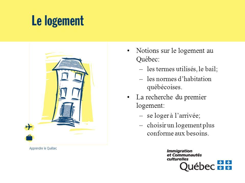 Notions sur le logement au Québec: –les termes utilisés, le bail; –les normes dhabitation québécoises. La recherche du premier logement: –se loger à l