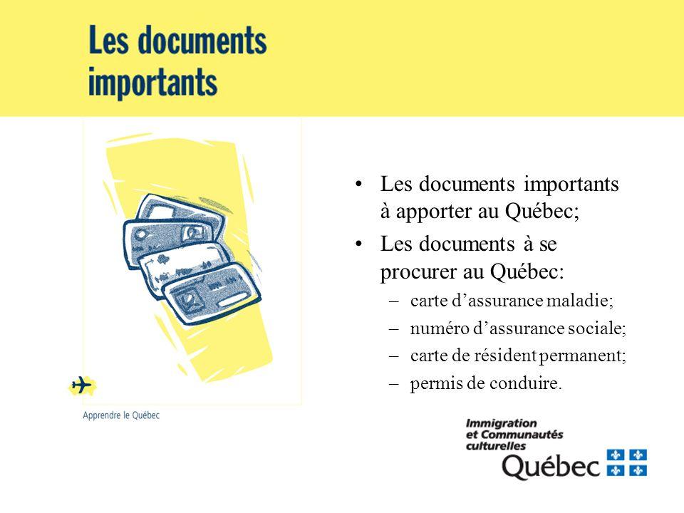 Les documents importants à apporter au Québec; Les documents à se procurer au Québec: –carte dassurance maladie; –numéro dassurance sociale; –carte de résident permanent; –permis de conduire.
