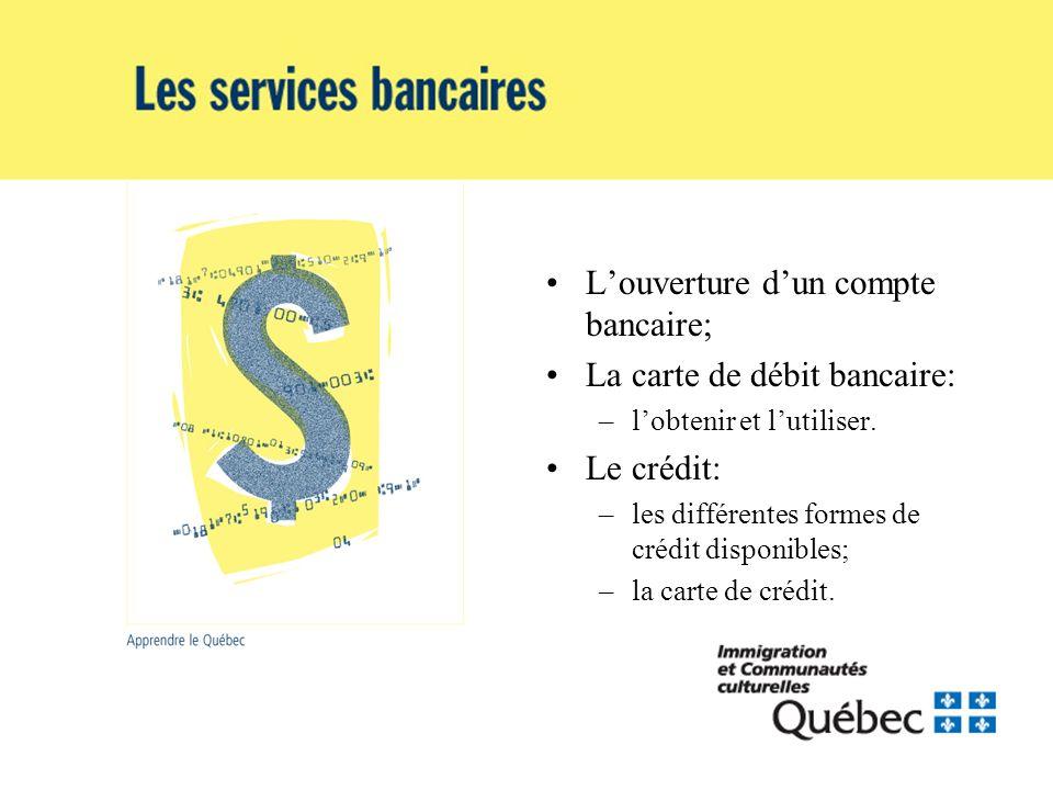 Louverture dun compte bancaire; La carte de débit bancaire: –lobtenir et lutiliser. Le crédit: –les différentes formes de crédit disponibles; –la cart