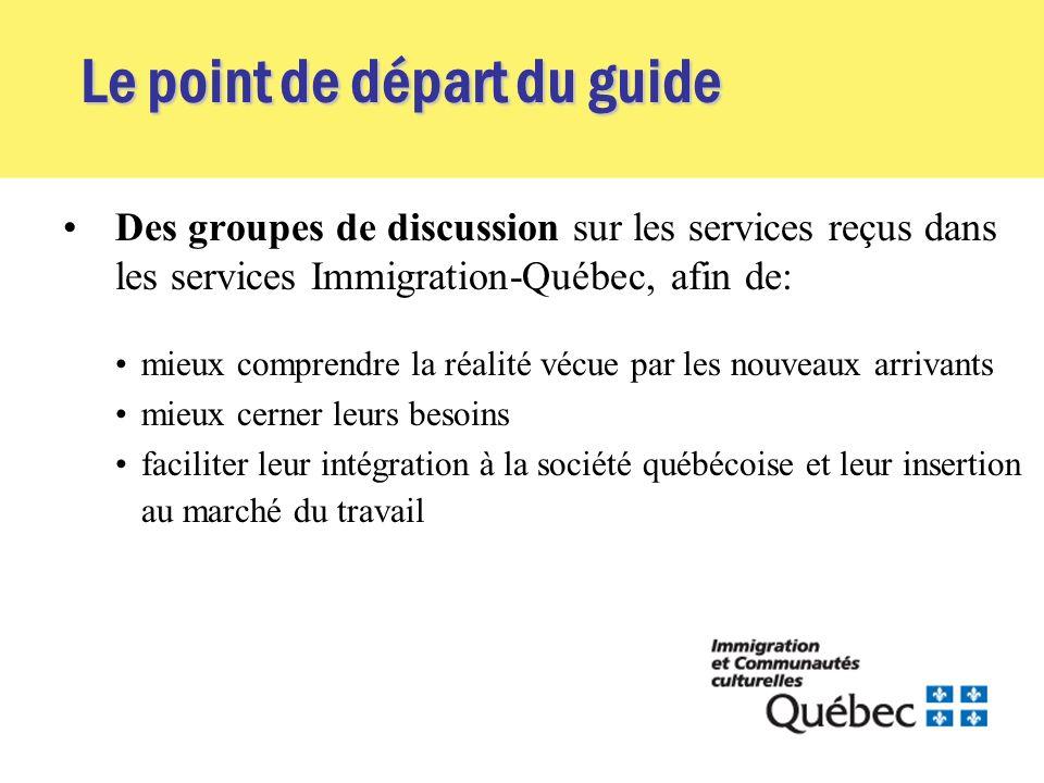 Le point de départ du guide Des groupes de discussion sur les services reçus dans les services Immigration-Québec, afin de: mieux comprendre la réalité vécue par les nouveaux arrivants mieux cerner leurs besoins faciliter leur intégration à la société québécoise et leur insertion au marché du travail